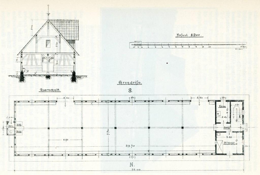 1889. Grundriss und Querschnitt des Gebäudes (Stall und Wohntrakt) auf der Jungviehweide Waldenbuch)